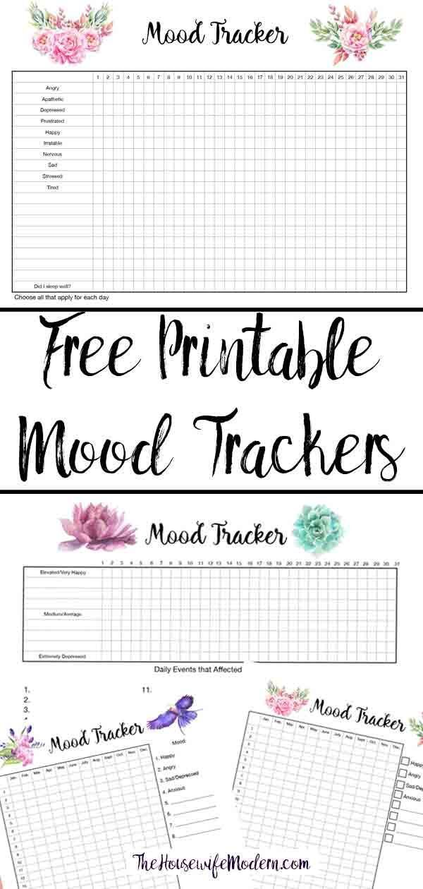 picture about Printable Mood Tracker identify Totally free Printable Temper Trackers: 4 Programs No cost Printables