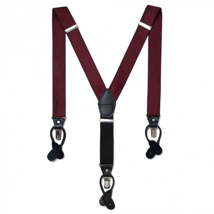 Bordeauxrote Hosenträger – VON FLOERKE – Handgemachte Accessoires wie Querbinder, Einstecktücher, Fliegen zum Selbstbinden und vieles mehr