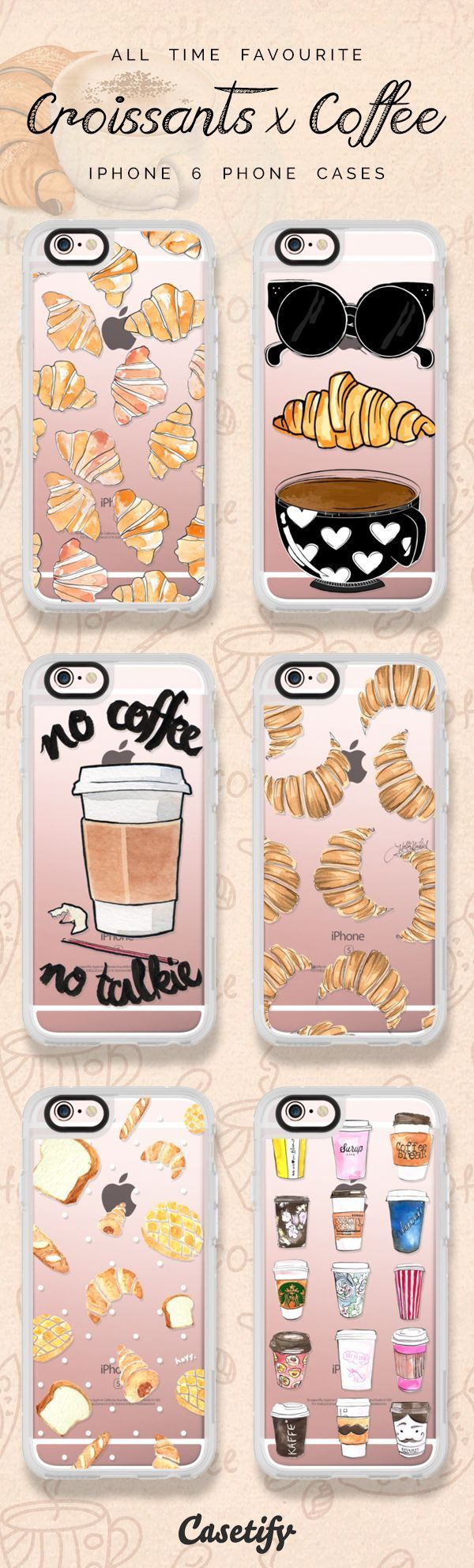 All time favourite coffee and croissant iPhone 6 protective phone case designs | Click through to see more iPhone phone case designs >>> https://www.casetify.com/artworks/0sHo0vXarC #food | @casetify #PhoneCase #iphone6case,
