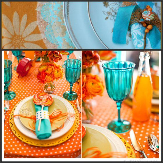 orange and turquoise wedding  - Pearledkisslook.com