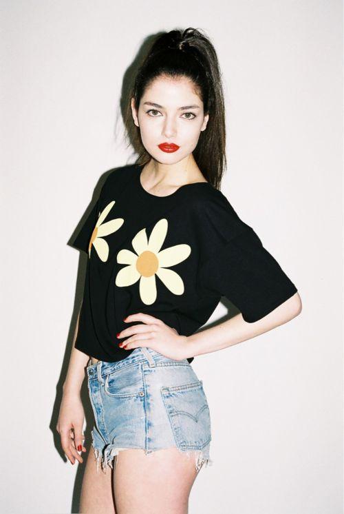 flower printed crop top, denim levis 90s 1990s style