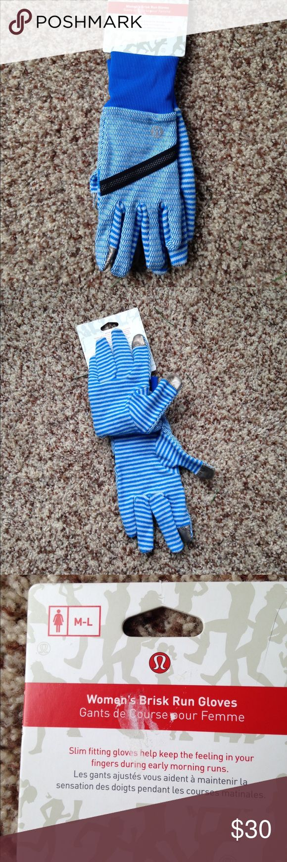Lululemon Brisk Run Gloves Brand new with tags. Women's M/L. Pretty blue and white color.  Silver fiber panelled fingertips allow you to text while they are on. lululemon athletica Accessories Gloves & Mittens
