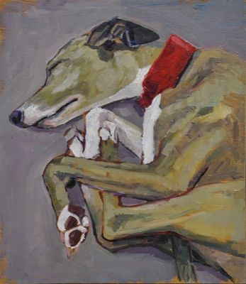 Rodgerson,Jenny Sleeping Whippet 2 Oil on board Image Size: 21 x 18.5cm