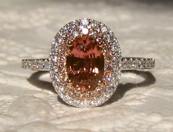 Peach Sapphire Engagement Ring, Untreated Pink Sapphire in White and Rose Gold Double Diamond Halo Engagement Ring with Champagne Diamonds, by JuliaBJewelry