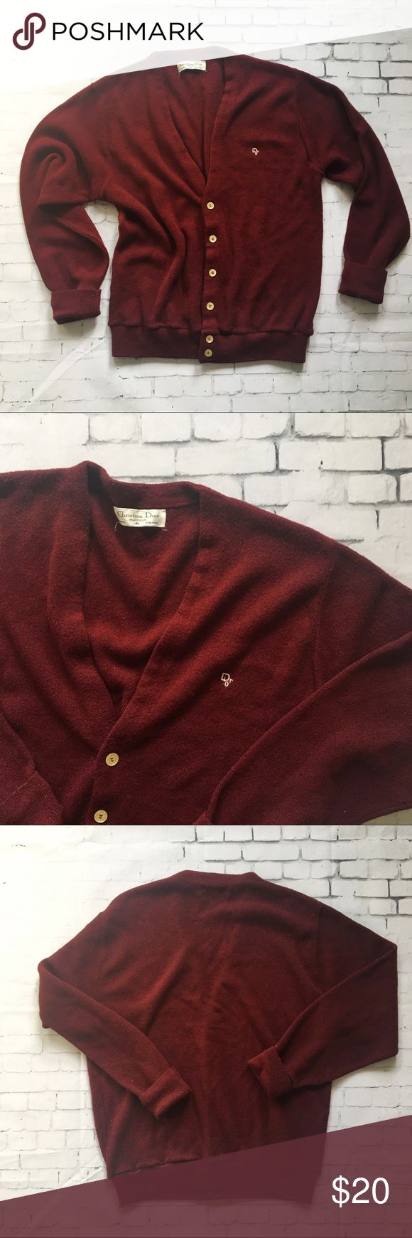 """Christian Dior cardigan sweater Vintage Christian Dior monsieur cardigan sweater In wine red color size XL In good condition made in USA   100% orlon acrylic  -pit to pit : 22""""-  - length 26"""" - Christian Dior Sweaters Cardigan"""