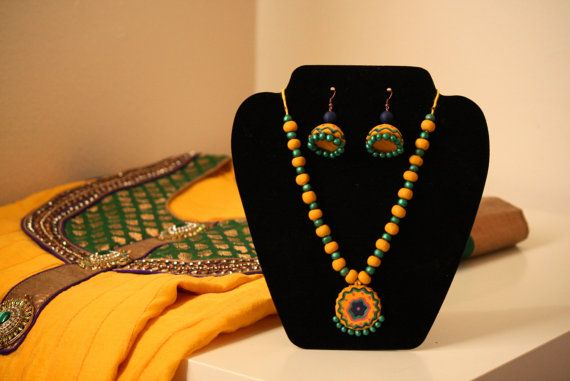 Floral Pendant with Jhumka Set by Bagoholics on Etsy, $45.00