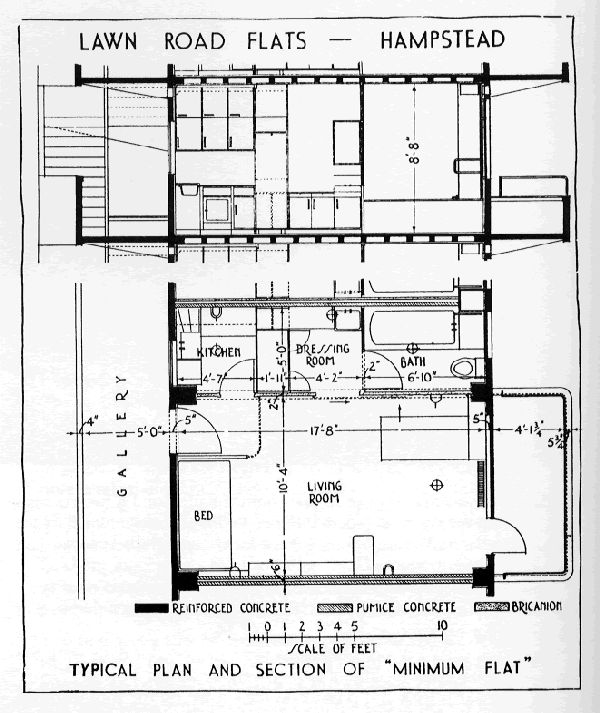 minimum flat plan isokon lawn road flats diagrams