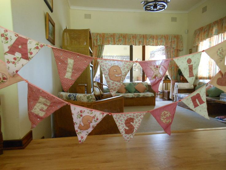 Bunting can have the name of a child such as these examples