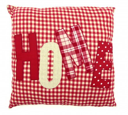 red gingham home applique cushion