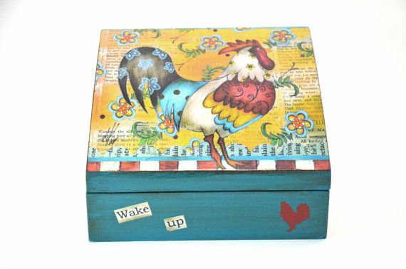 Handmade Wooden Tea Box Wake up by WoodyGift on Etsy