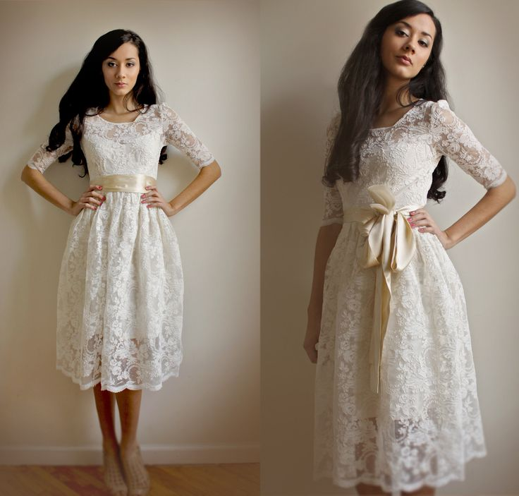 Lace and Cotton Wedding Dress. Etsy. Love the tea length and lace 3/4 sleeves.