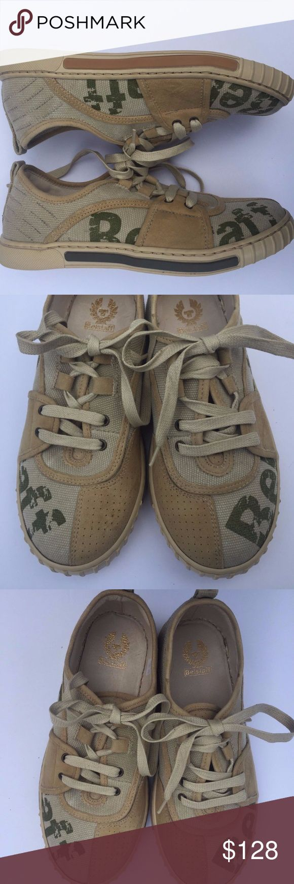 BELSTAFF Sneakers Olive Green & Brown Lace Up Shoe BELSTAFF Sneakers Olive Green & Brown Lace Up Shoes Large Logo  Excellent Preowned Condition Size 35 / 5. No flaws. Priced to sell. Belstaff Shoes Sneakers