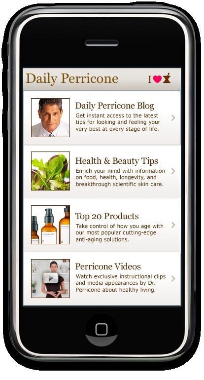 Main menu Dr. Perricone app