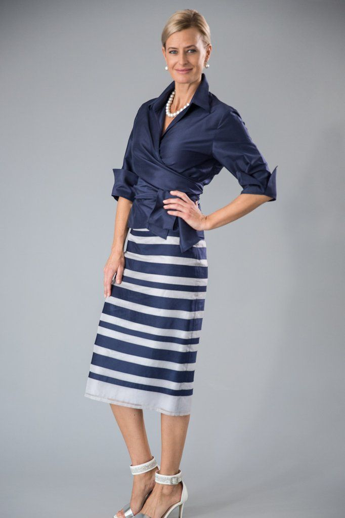 99319c0eb92 Navy and silver - a classic combination in a pure silk two piece outfit  with sleeves for the modern and elegant  motherofthebride and   motherofthegroom.