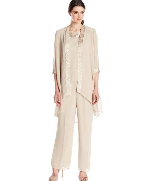 elegant champagne 3 piece mother of bride plus size pant suit Le Bos