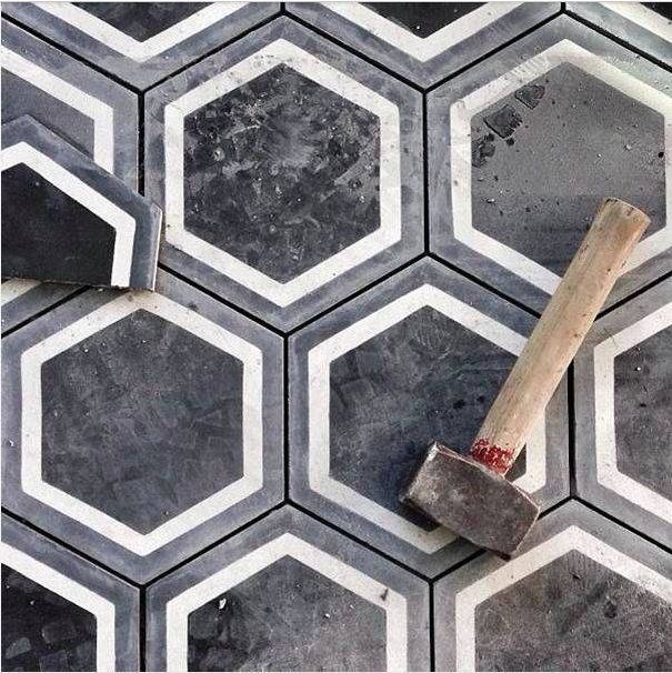 Black Conrete Hexagonal Tiles