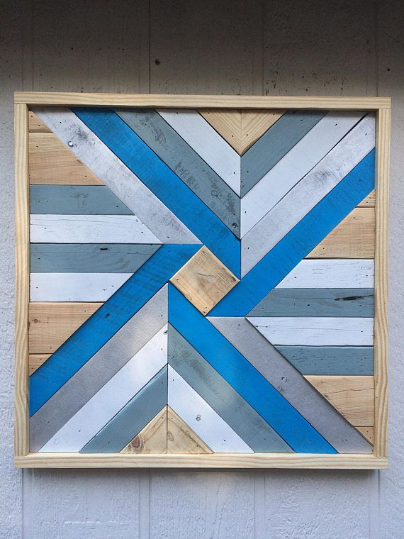 Barnwood Quilt Blue and Silver Reclaimed Wood Wall Art