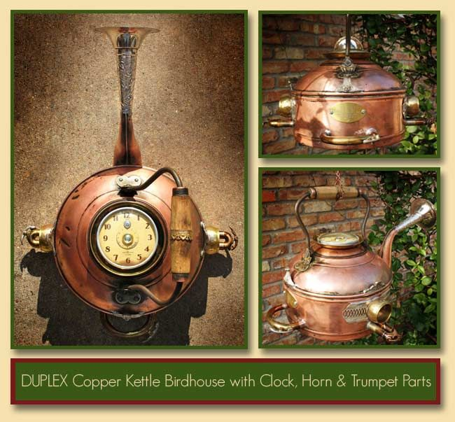(Svd)  Copper Birdhouse Duplex Kettle with Clock, Horn & Trumpet Parts