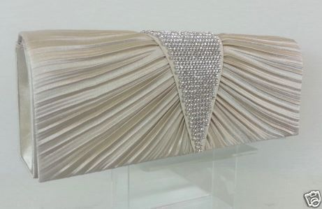 CHAMPANGE Pleated-Satin-Diamante-Deep-V-Clutch-Bag