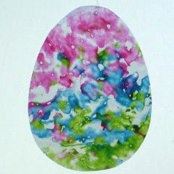 Easter art - this craft is made from wax paper and crayon shavings, makes a pretty sun catcher!