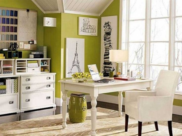 Modern Home Office Furniture House Interior Designs with Vibrant Green Wall Color