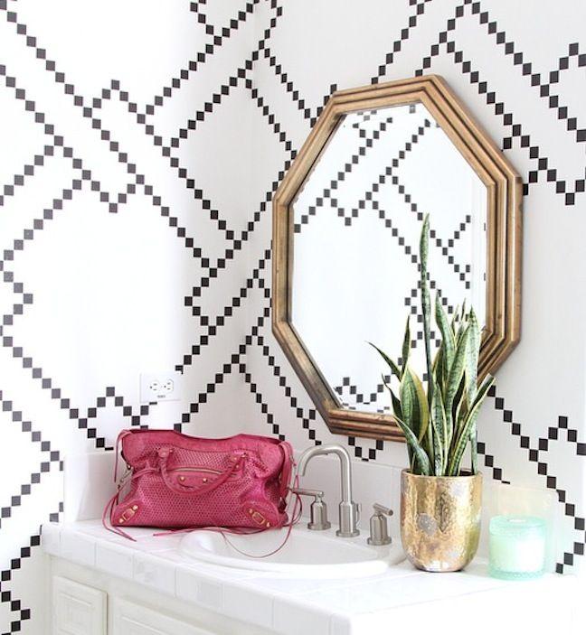 black-and-white-wallpaper-owens-and-davis  http://www.wisteria.com/Octagon-Mirror-Gilt/productinfo/W8757?utm_source=shareasale&utm_medium=referral&utm_campaign=affiliate