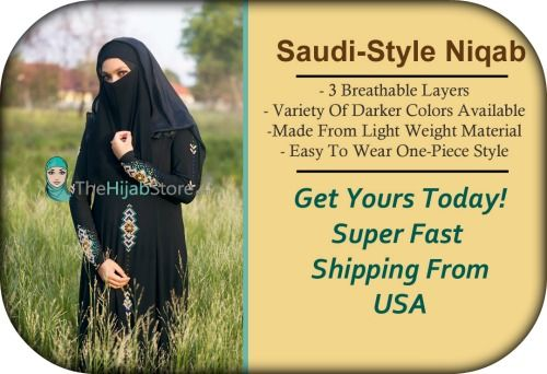 Saudi-Style niqab is available in USA in many dark colors. Fast USA Shipping! http://www.thehijabstore.com/saudi-style-niqab/