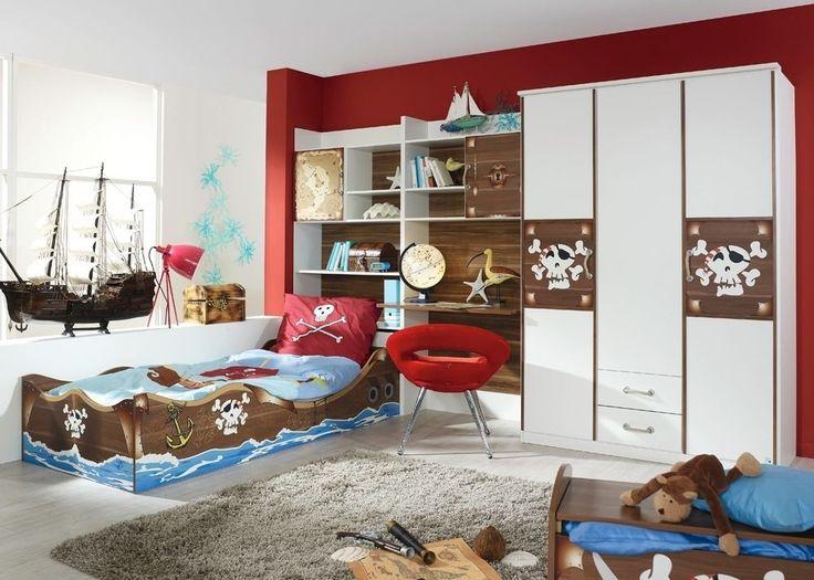 Kinderzimmer komplett Drake mit Piratenmotiv 8352. Buy now at https://www.moebel-wohnbar.de/jugendzimmer-drake-mit-piratenmotiv-kinderzimmer-piratenzimmer-8352.html