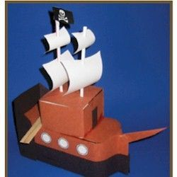 Milk Carton Pirate Ship Craft or a Columbus Day craft made from recycled materials. See more recycled crafts at www.freekidscrafts.com