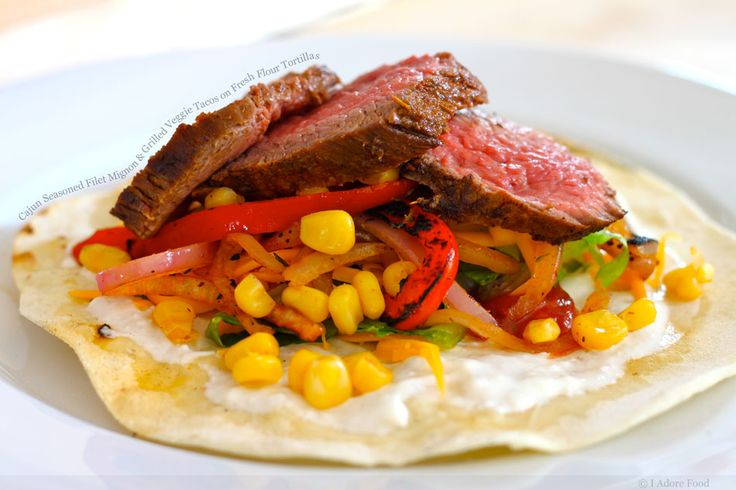 cajun seasoned filet mignon & grilled veggie tacos on fresh flour tortillas. always in the mood for a taco.