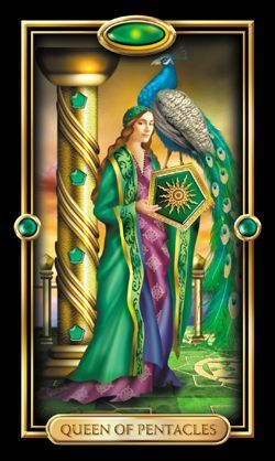 Queen of Pentacles (I like Hera's peacock)