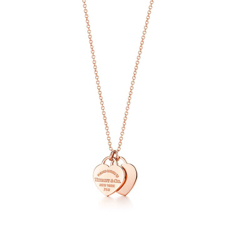 Return to Tiffany® double heart pendant in 18k rose gold.
