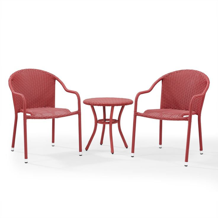 Crosley Furniture Palm Harbor 3 Piece Outdoor Café Seating Set in -- 2 Stacking Chairs and Round Side Table