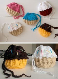 Crochet cupcake purse in Material and objects related with the cupcakes and muffins