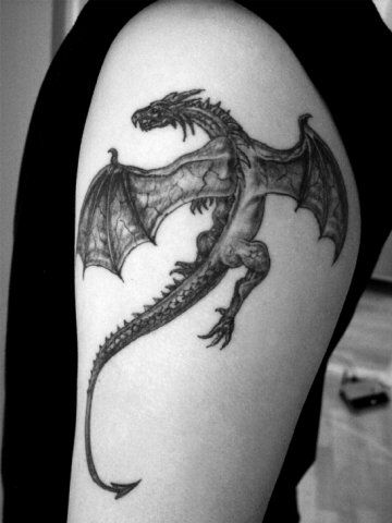 Realistic small dragon tatoo on shoulder - yes yes yes love