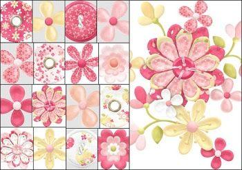 Flores y Botones del Clipart de Dulces Manzanas.