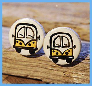 SALE! Yellow Campervan Earrings HALF PRICE! £2.00