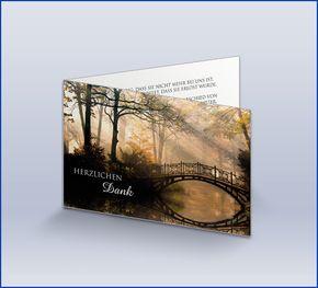 Dankeskarte Trauer 'Brücke im Morgenlicht'