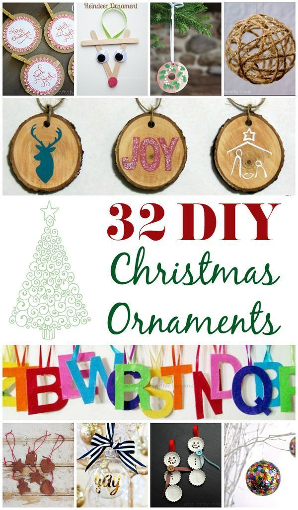 32 DIY Christmas Ornaments to make! Fun crafts to make. Includes ideas for all ages and skills.