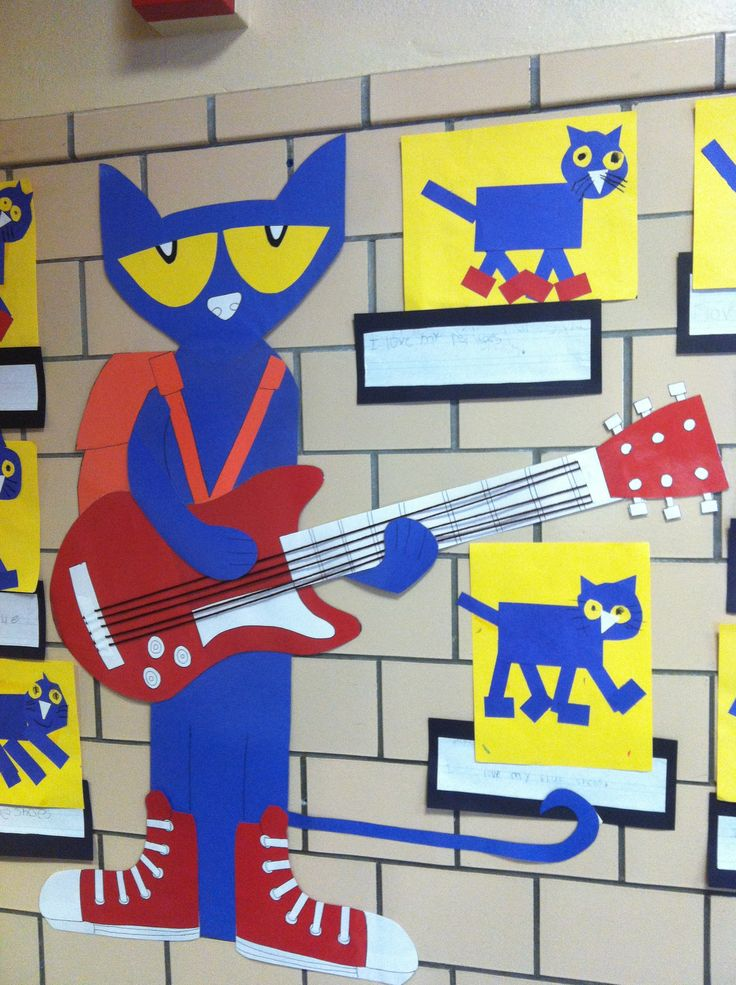 """Pete the Cat bulletin board idea """"I'm Rocking in my Preschool Shoes""""  Use large Pete and write kids names on different colored shoes for """"back to school"""" bulletin board. Maybe display different Pete books from the series too?"""