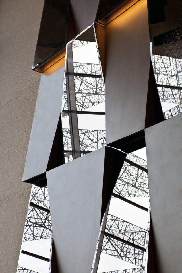 Feature Wall Idea Mirrors Lighting Metal