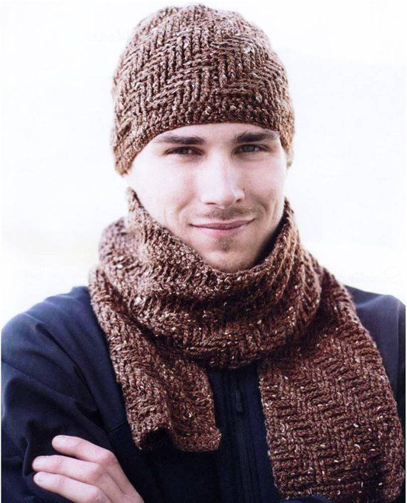 Crochet Pattern – PDF File – Mens Hat and Scarf – Rugged Warmth Winter Set. Mens Accessory Set. Crochet PDF Pattern # 604