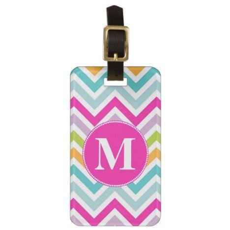 Girly Chevron Monogram Luggage Tag #chevron #pattern #accessories