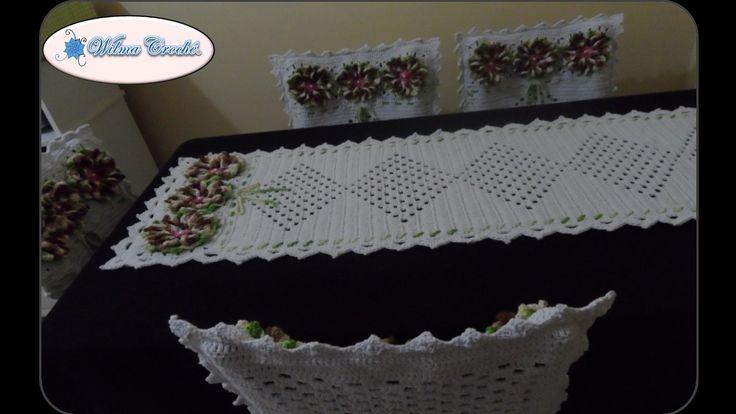 Wilma Crochê: Jogo de Capas de Cadeiras e Caminho de Mesa em Crochê