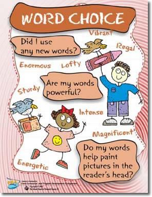 word choice in writing Word choice is just one of the six writing traits in nevada, although it isn't specifically assessed on our fifth grade state writing test, there is a bullet on the state's voice rubric (which is assessed) that directly mentions word choice the trait of word choice is a complex trait that should be discussed, explored, and further.