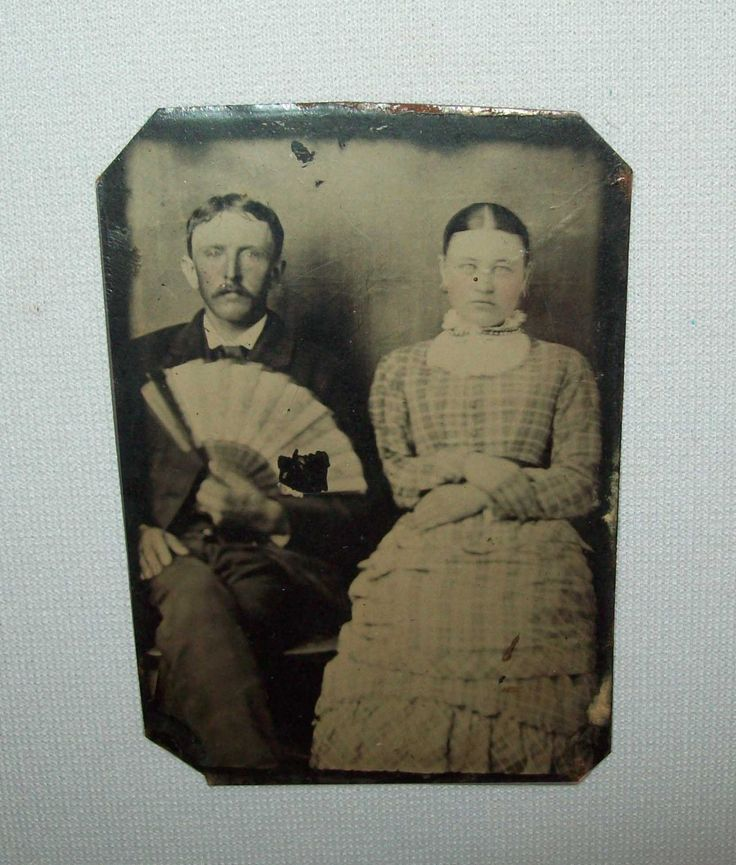 Old antique vtg 1870s Tintype Photo Woman and Man, Man Hold Ladies Unfolded Fan   eBay