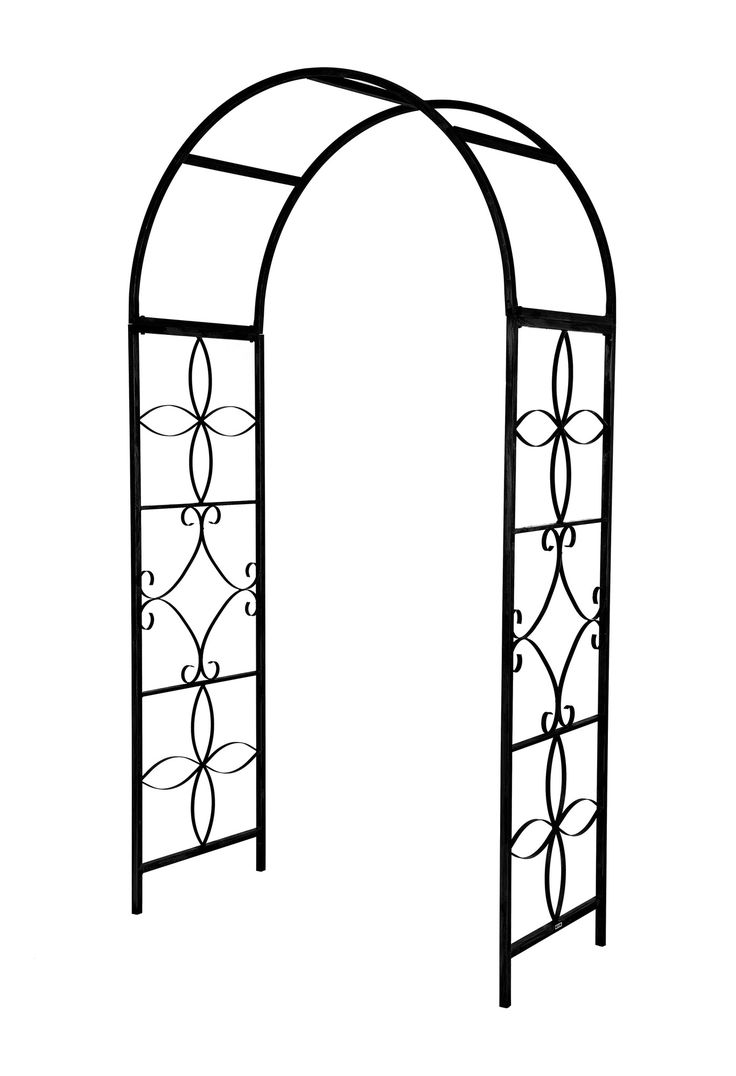 Features:  -Includes stakes to anchor the arch into the ground.  -Superior quality.  -Weather resistant.  Material: -Iron. Color Black -  Color: -Black. Color Bronze -  Color: -Bronze. Color Green -