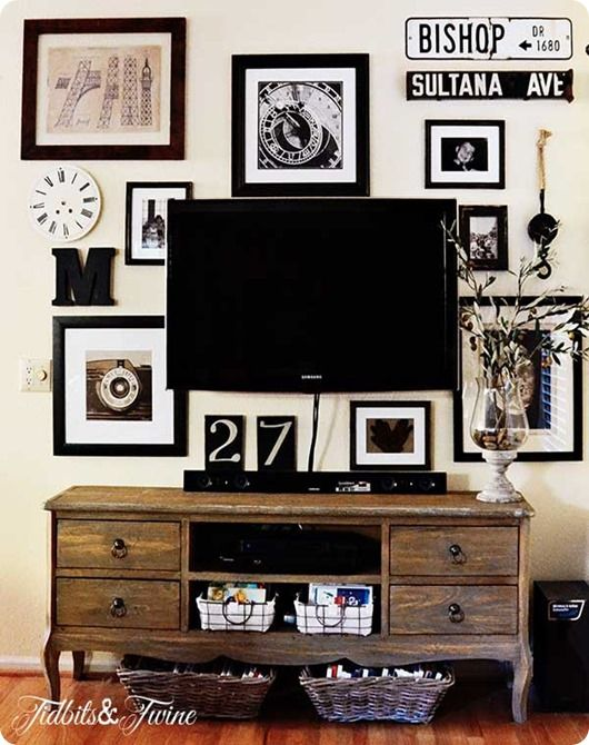 How to Create a Gallery Wall Around Your TV {Inspired by Pottery Barn}