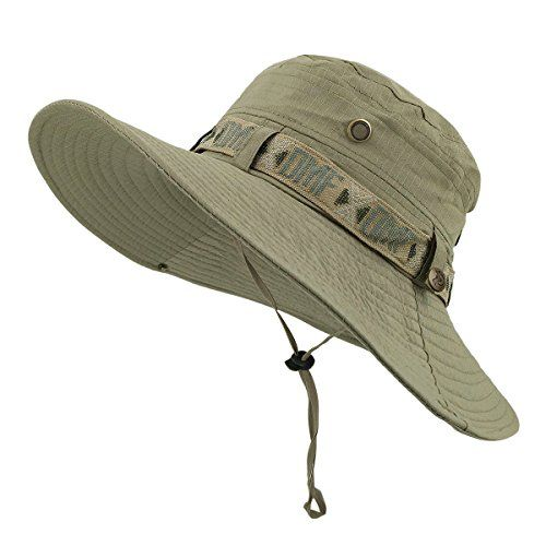LETHMIK Fishing Sun Boonie Hat Summer UV Protection Cap Outdoor Hunting Hat Beige. For product & price info go to:  https://all4hiking.com/products/lethmik-fishing-sun-boonie-hat-summer-uv-protection-cap-outdoor-hunting-hat-beige/