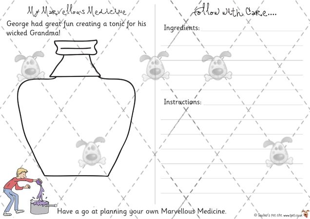 Teacher's Pet - My Marvellous Medicine - Premium Printable Game / Activity - EYFS, KS1, KS2, describe, lists, instructions, writing
